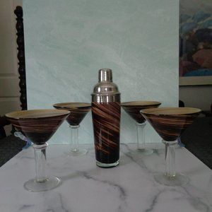 Vintage Art Glass Brown Swirl Martini Set 5 Pieces